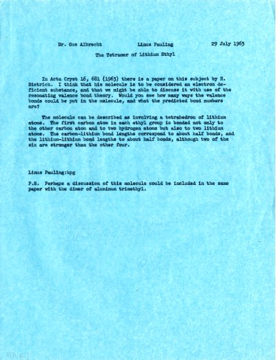 Memo from Linus Pauling to Gustav Albrecht.Page 1. July 29, 1963