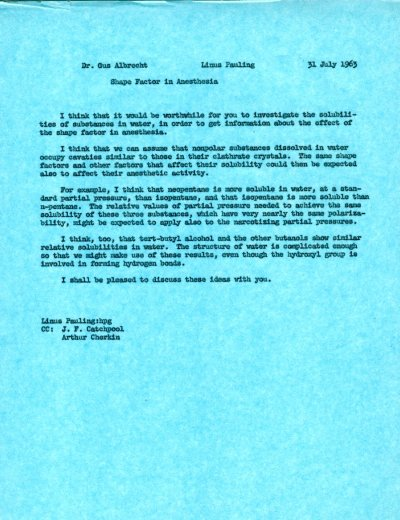 Memo from Linus Pauling to Gustav Albrecht. Page 1. July 31, 1963