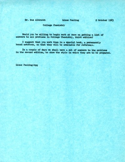 Memo from Linus Pauling to Gustav Albrecht. Page 1. October 2, 1963