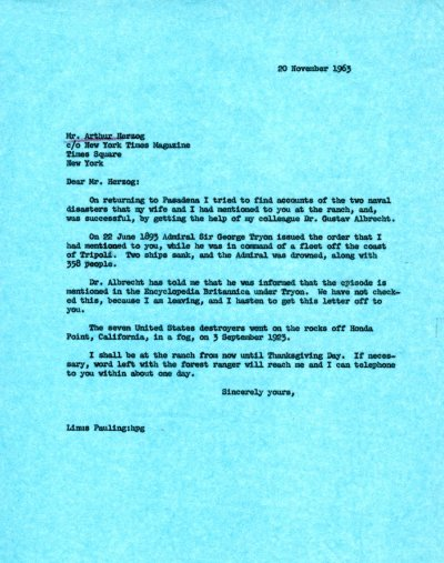 Memo from Linus Pauling to Arthur Herzog.Page 1. November 20, 1963