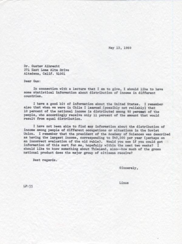 Letter from Linus Pauling to Gustav Albrecht. Page 1. May 12, 1969