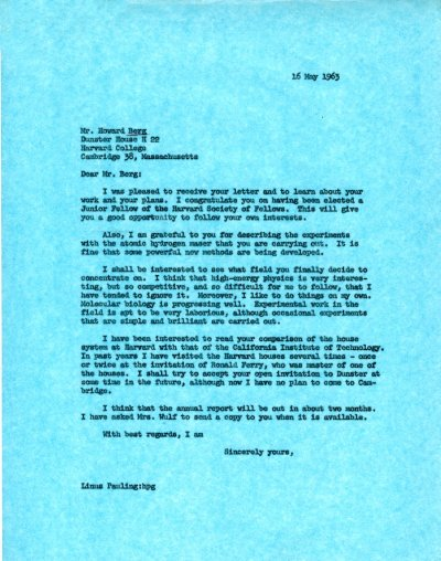 Letter from Linus Pauling to Howard Berg. Page 1. May 16, 1963