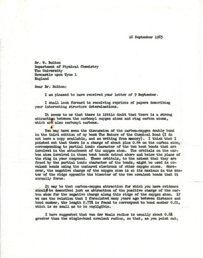 Letter from Linus Pauling to W. Bolton. Page 1. September 16, 1965