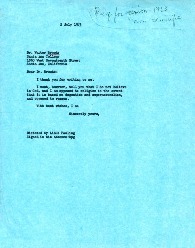 Linus Pauling to Walter Brooks.Page 1. July 2, 1963