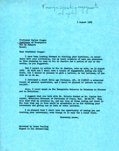 Letter from Linus Pauling to Carlos Chagas. Page 1. August 5, 1963