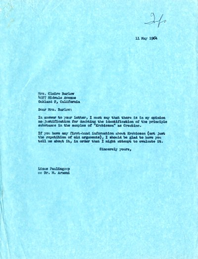 Letter from Linus Pauling to Claire Barlow. Page 1. May 11, 1964