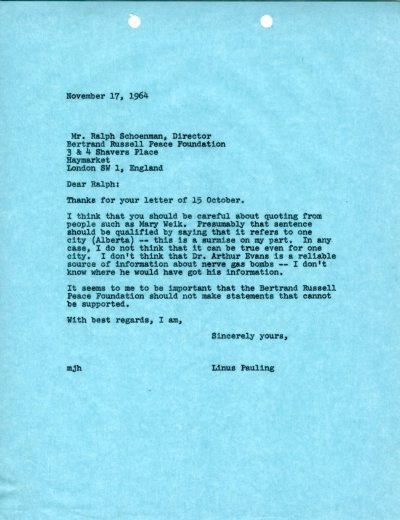 Letter from Linus Pauling to Ralph Schoenman. Page 1. November 17, 1964