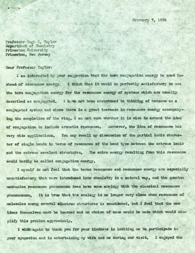 Letter from Linus Pauling to Hugh S. Taylor. Page 1. February 7, 1938