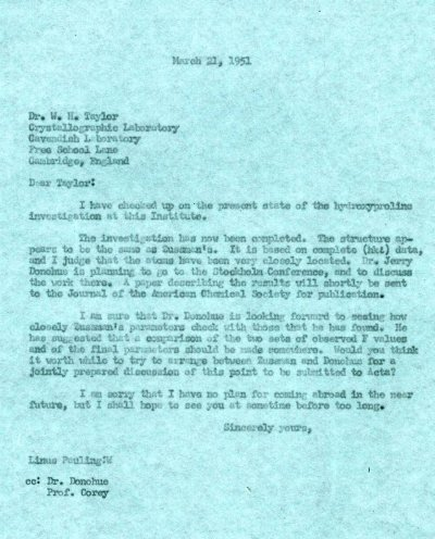 Letter from Linus Pauling to W.H. Taylor.Page 1. March 21, 1951