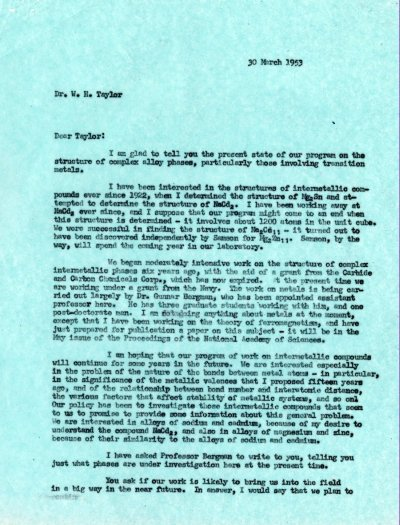 Letter from Linus Pauling to W.H. Taylor. Page 1. March 30, 1953