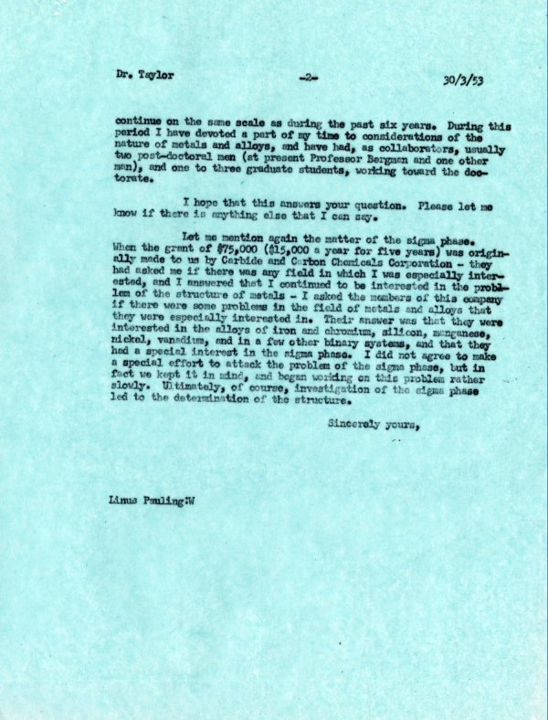 Letter from Linus Pauling to W.H. Taylor. Page 2. March 30, 1953
