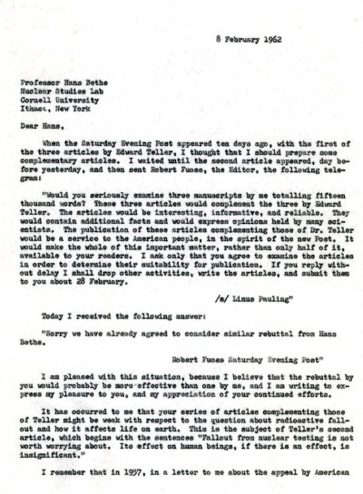 Letter from Linus Pauling to Hans Bethe. Page 1. February 8, 1962
