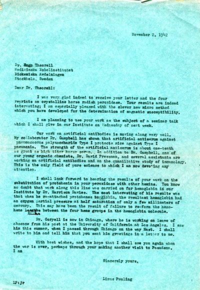 Letter from Linus Pauling to Hugo Theorell. Page 1. November 2, 1942