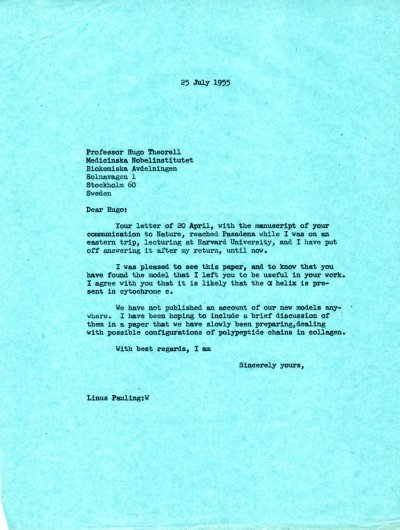 Letter from Linus Pauling to Hugo Theorell. Page 1. July 25, 1955