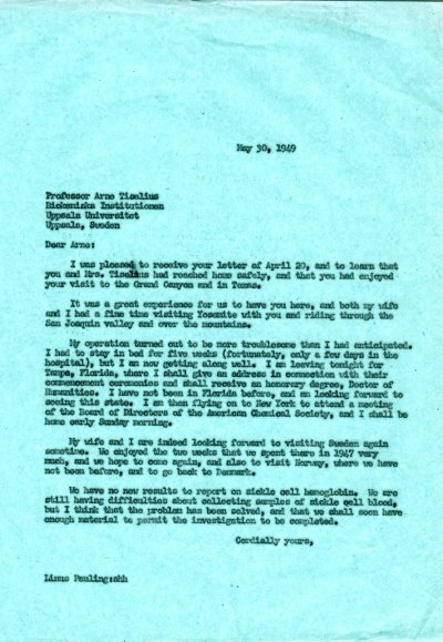 Letter from Linus Pauling to Arne Tiselius. Page 1. May 30, 1949