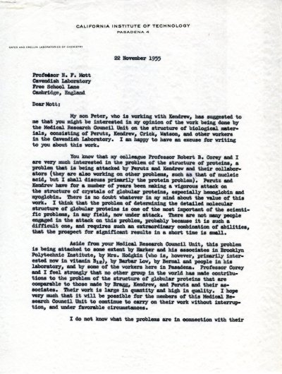 Letter from Linus Pauling to N.F. Mott Page 1. November 22, 1955