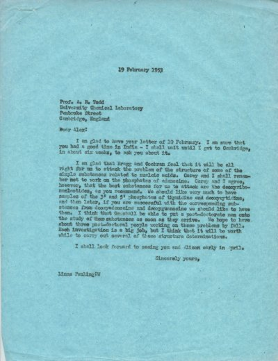 Letter from Linus Pauling to Alexander Todd.Page 1. February 19, 1953