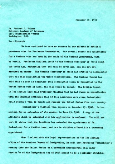 Letter from Linus Pauling to Richard C. Tolman. Page 1. December 20, 1940