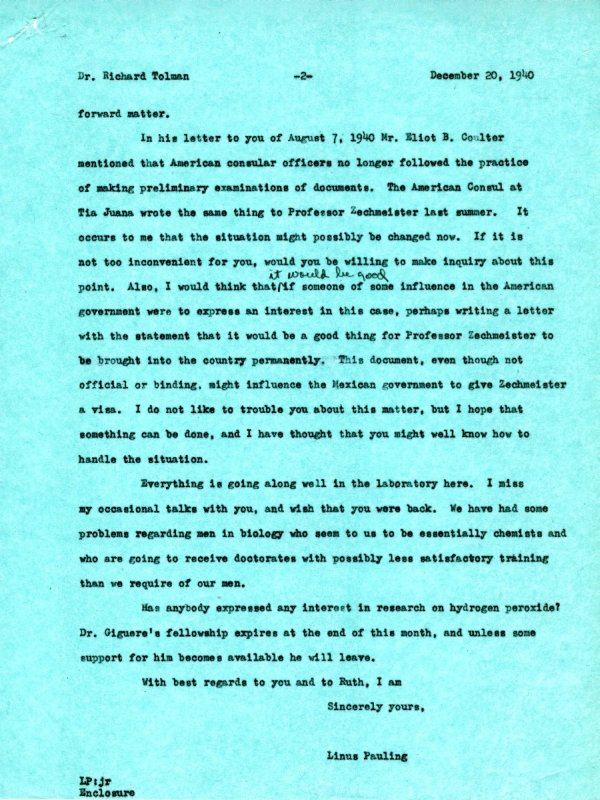 Letter from Linus Pauling to Richard C. Tolman.Page 2. December 20, 1940