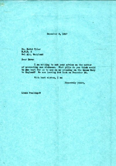 Letter from Linus Pauling to David Tyler. Page 1. December 5, 1947