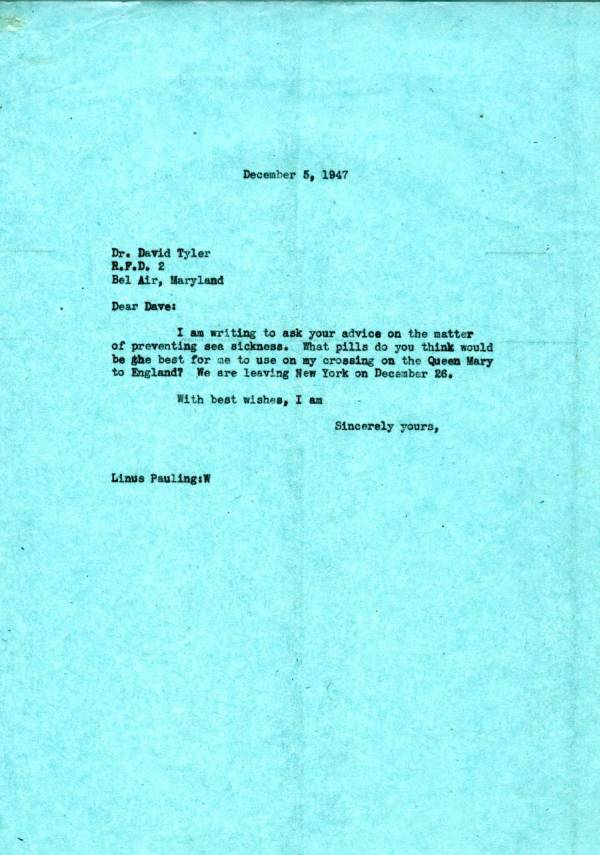 Letter from Linus Pauling to David Tyler.Page 1. December 5, 1947