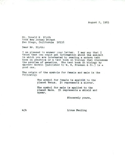 Letter from Linus Pauling to Donald K. Blyth. Page 1. August 2, 1965