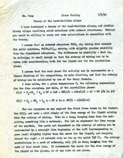 Letter from Linus Pauling to You-Chi Tang.Page 1. July 5, 1951