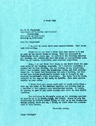 Letter from Linus Pauling to D.H. Templeton. Page 1. March 5, 1953