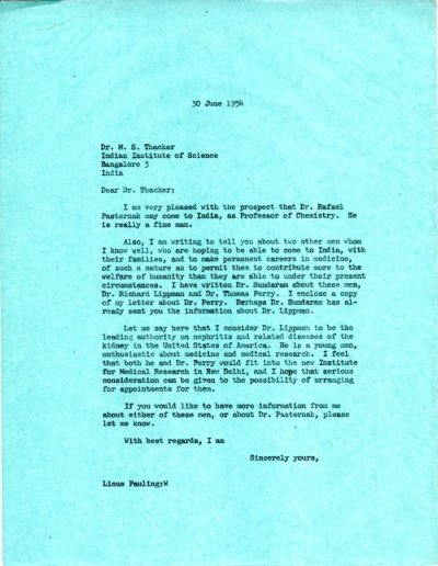 Letter from Linus Pauling to M.S. Thacker.Page 1. June 30, 1954