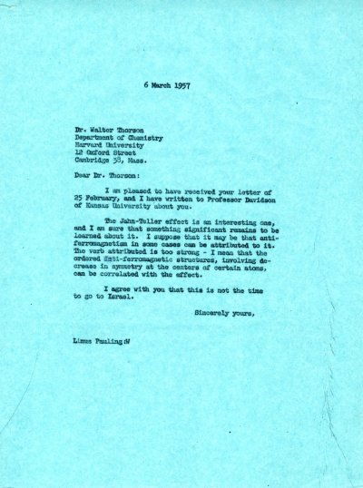 Letter from Linus Pauling to Walter Thorson Page 1. March 6, 1957