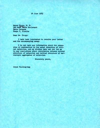Letter from Linus Pauling to Mason Trupp. Page 1. June 24, 1963