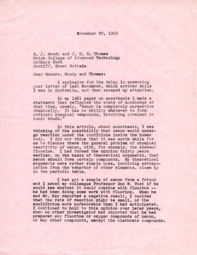 Letter from Linus Pauling to G. J. Moody and J. D. R. Thomas. Page 1. November 22, 1965