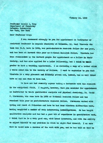 Letter from Linus Pauling to Harold Urey. Page 1. January 16, 1940