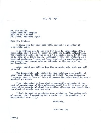 Letter from Linus Pauling to Dan Broida. Page 1. July 27, 1967