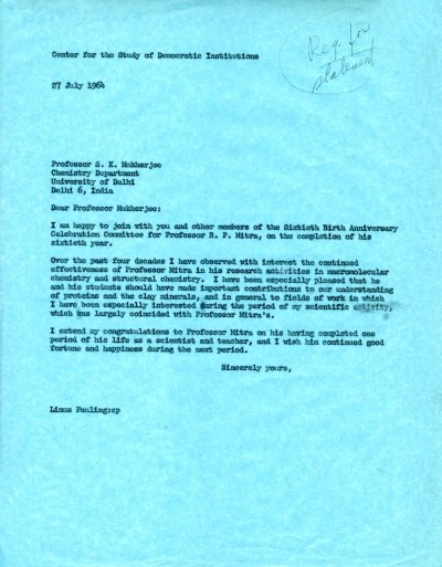 Letter from Linus Pauling to S. K. Mukherjee. Page 1. July 27, 1963