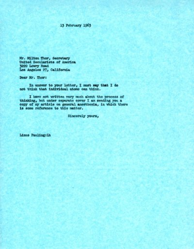 Letter from Linus Pauling to Milton Thor.Page 1. February 13, 1963