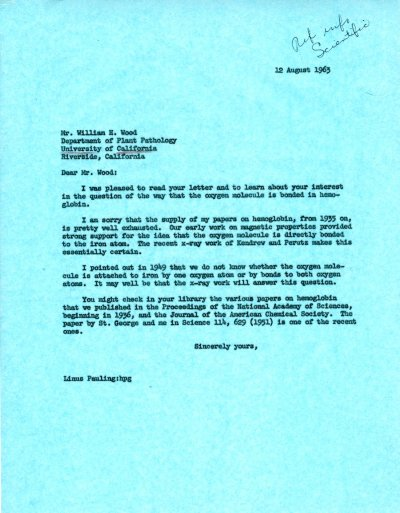 Letter from Linus Pauling to William H. Wood.Page 1. August 12, 1963