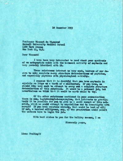 Letter from Linus Pauling to Vincent du Vigneaud. Page 1. December 18, 1953