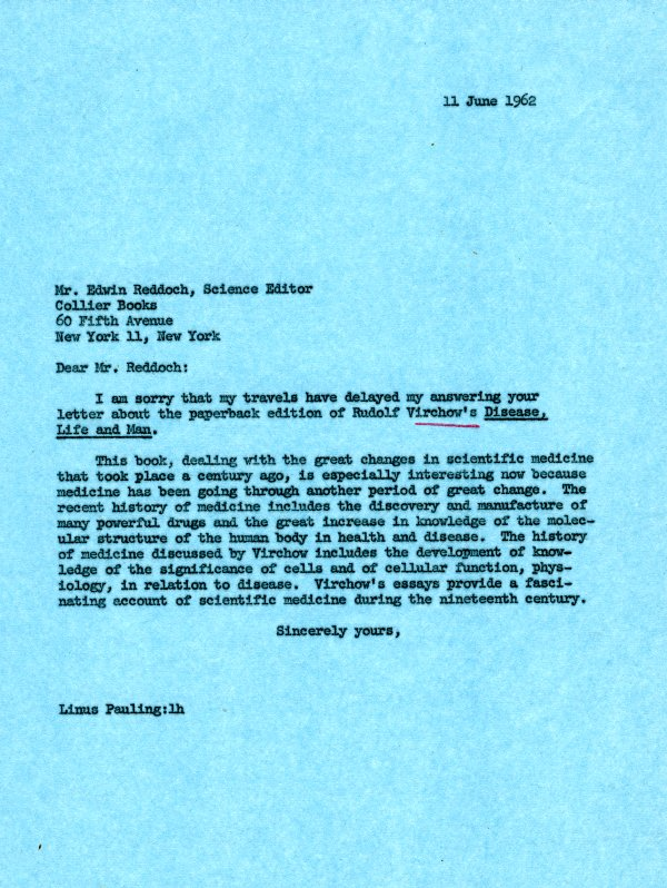 Letter from Linus Pauling to Edwin Reddoch.Page 1. June 11, 1962