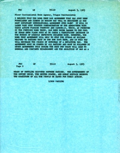 Letter from Linus Pauling to the Fiser Czechoslovak News Agency.Page 1. August 3, 1963