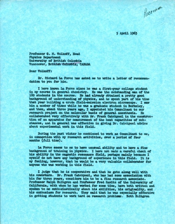 Letter from Linus Pauling to G. M. Volkoff.Page 1. August 19, 1963