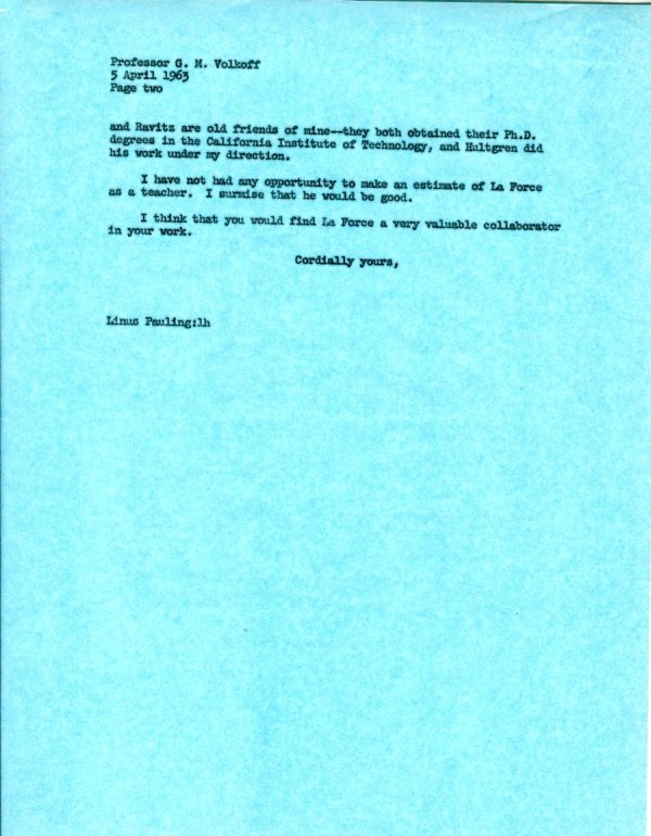 Letter from Linus Pauling to G. M. Volkoff.Page 2. August 19, 1963