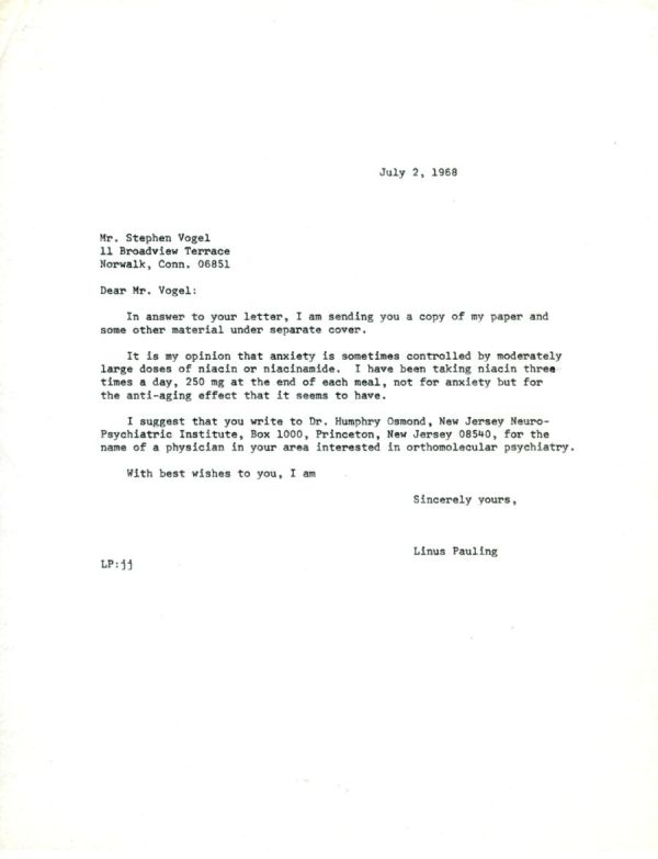 Letter from Linus Pauling to Stephen Vogel. Page 1. July 2, 1968
