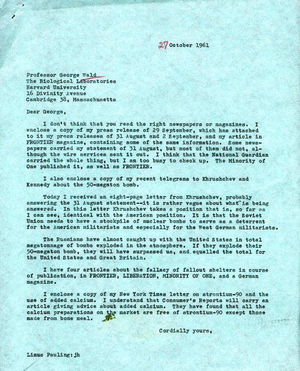 Letter from Linus Pauling to George Wald. Page 1. October 27, 1961