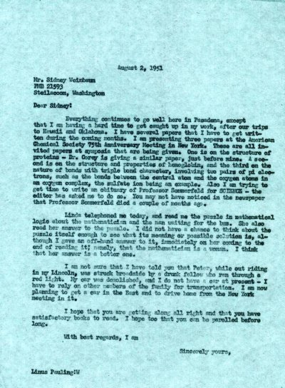 Letter from Linus Pauling to Sidney Weinbaum.Page 1. August 2, 1951