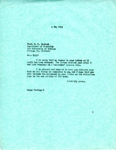 Letter from Linus Pauling to G.W. Wheland.Page 1. May 4, 1954