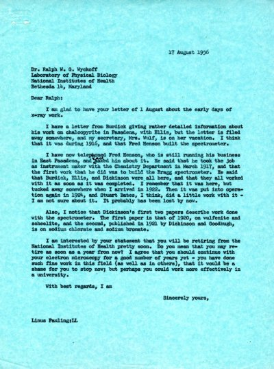 Letter from Linus Pauling to Ralph W.G. Wyckoff. Page 1. August 17, 1956