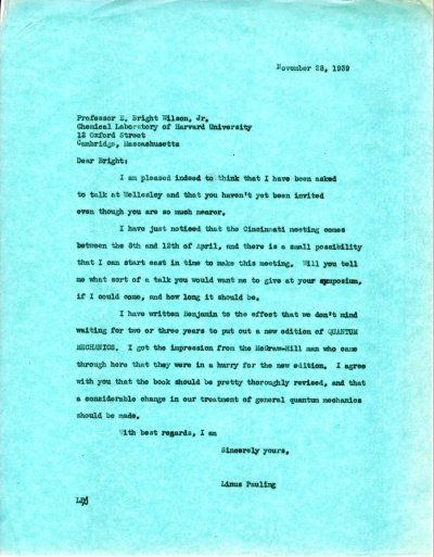 Letter from Linus Pauling to E. Bright Wilson, Jr.Page 1. November 28, 1939
