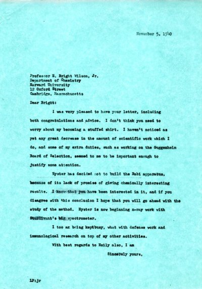 Letter from Linus Pauling to E. Bright Wilson, Jr.Page 1. November 3, 1940