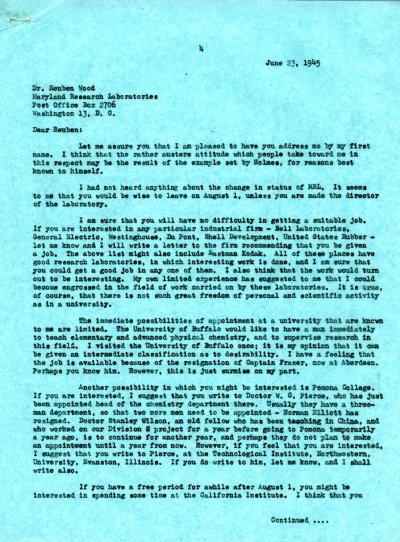 Letter from Linus Pauling to Reuben E. Wood. Page 1. June 23, 1945